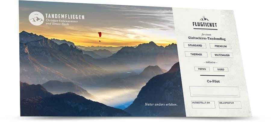 Geschenk-Gutschein für einen Gleitschirm Tandemflug in Bad Reichenhall oder Berchtesgaden